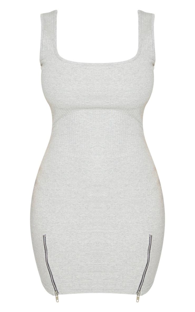 Shape Grey Thick Rib Zip Detail Scoop Back Bodycon Dress 5