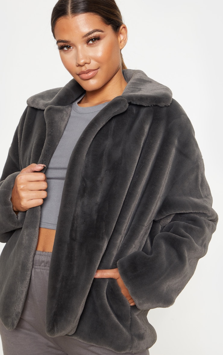 Charcoal Grey Oversized Faux Fur Jacket 1