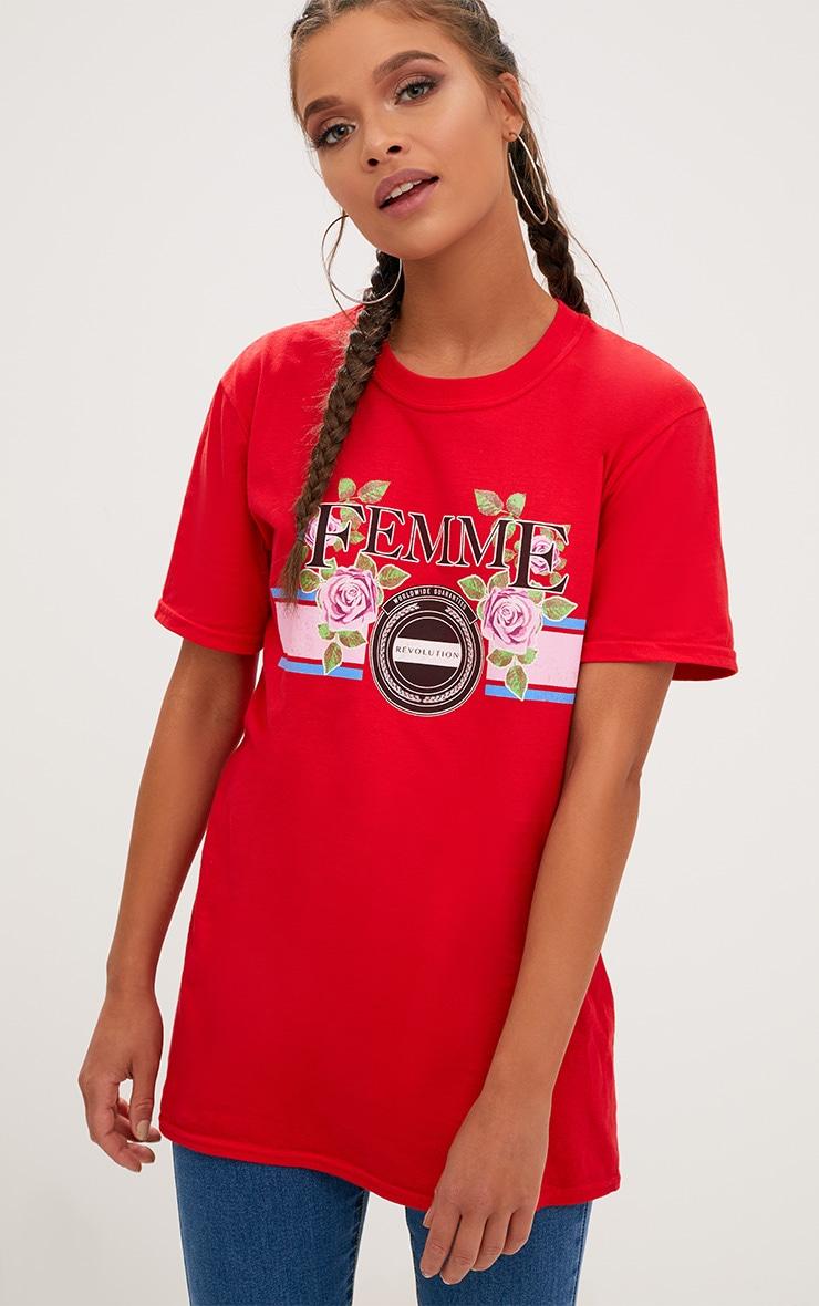 Red Femme Slogan Rose Oversized T Shirt 1