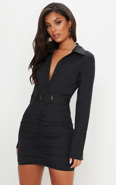 Black Plunge Ruched Tortoise Belted Bodycon Shirt Dress a9021e5ae