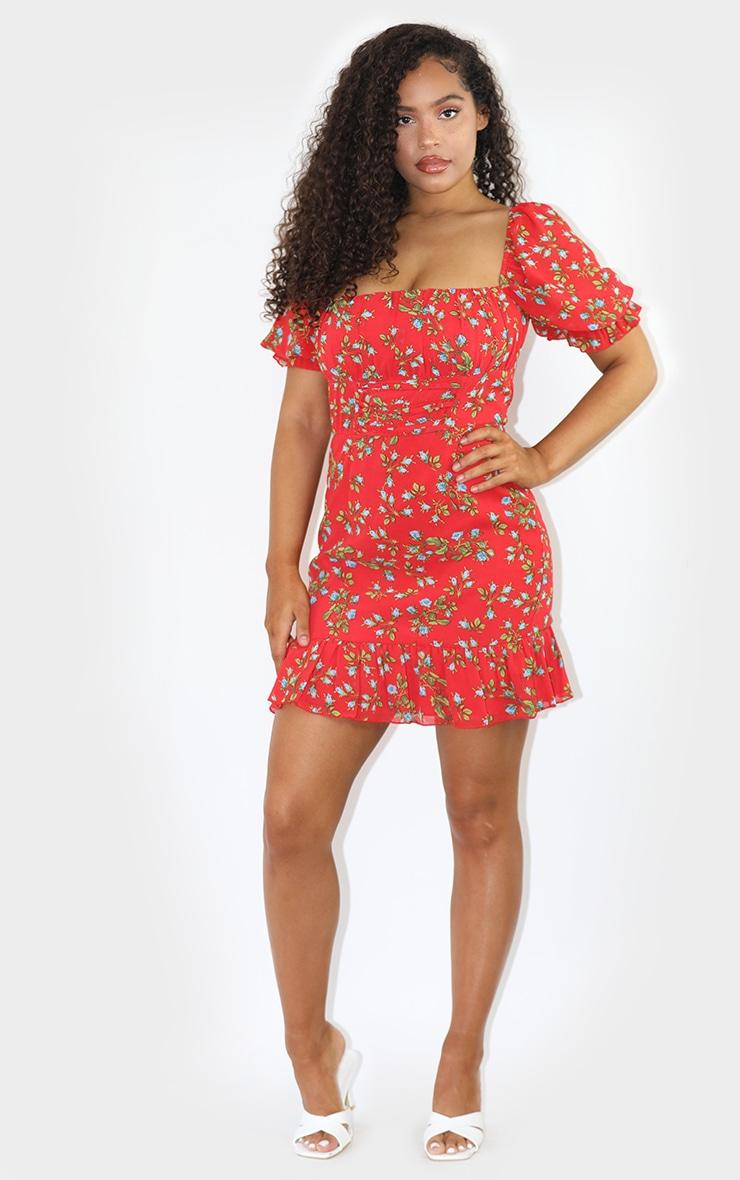 Red Floral Print Corset Detail Frill Hem Bodycon Dress 3