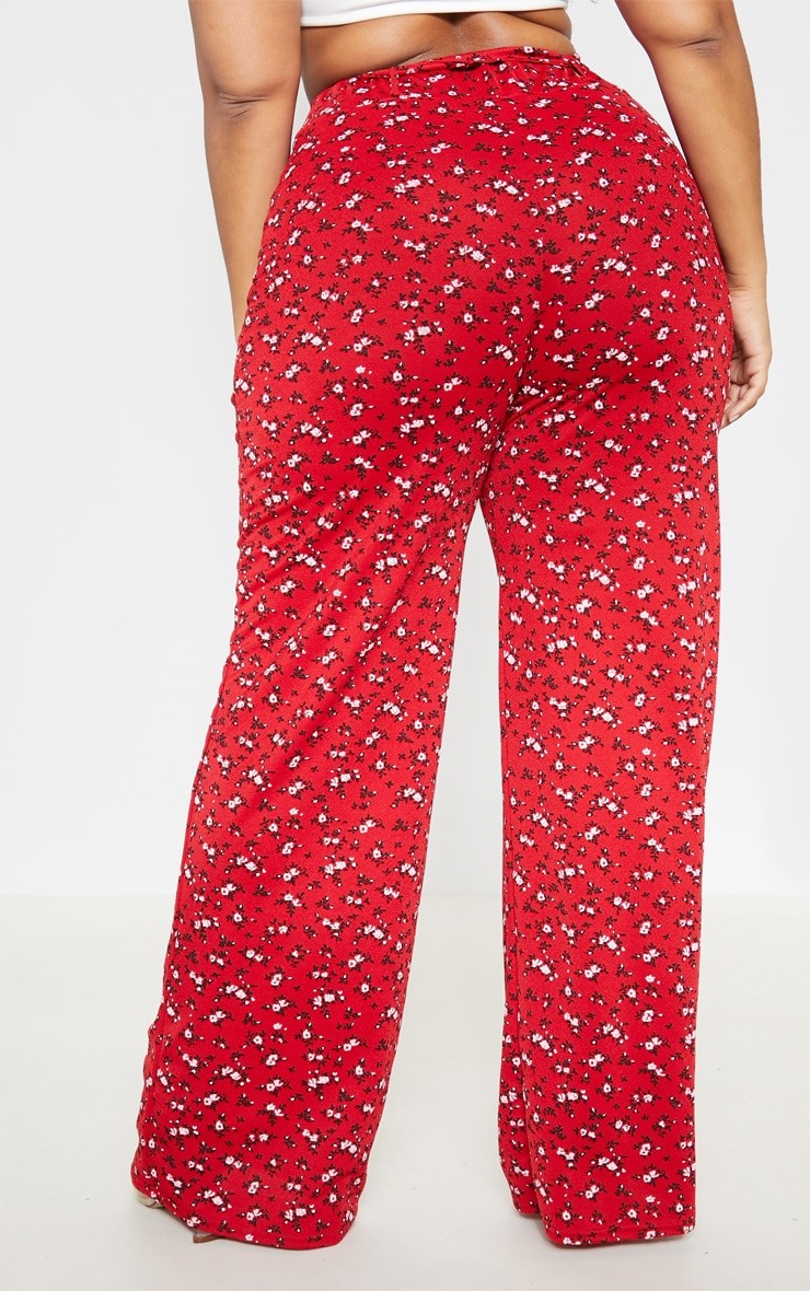 Plus Red Ditsy Floral Tie Waist Wide Leg Pants 4