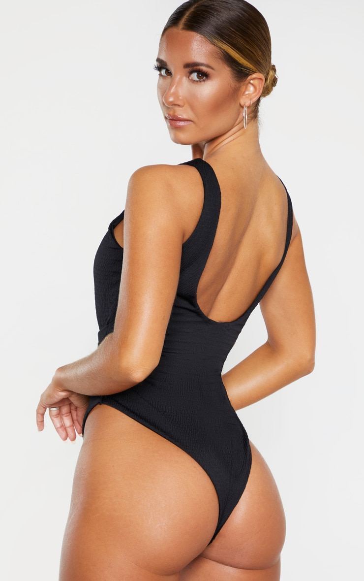 Black Crinkle Cut Out Belted Swimsuit 2