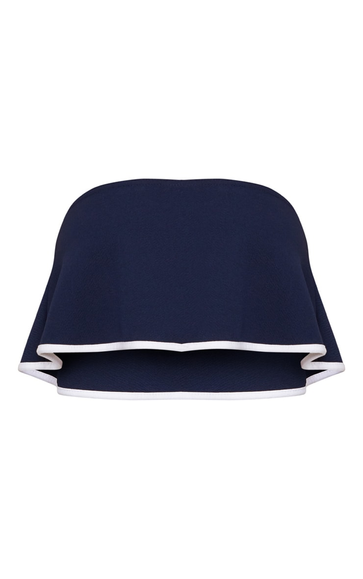 Navy Frill Detail Bandeau Top 3