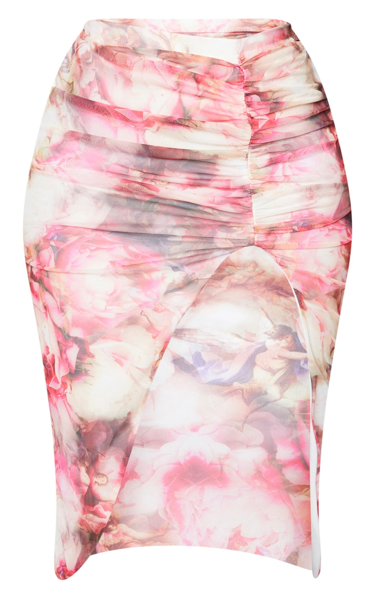 Shape Pink Floral Mesh Ruched Front Midi Skirt 5