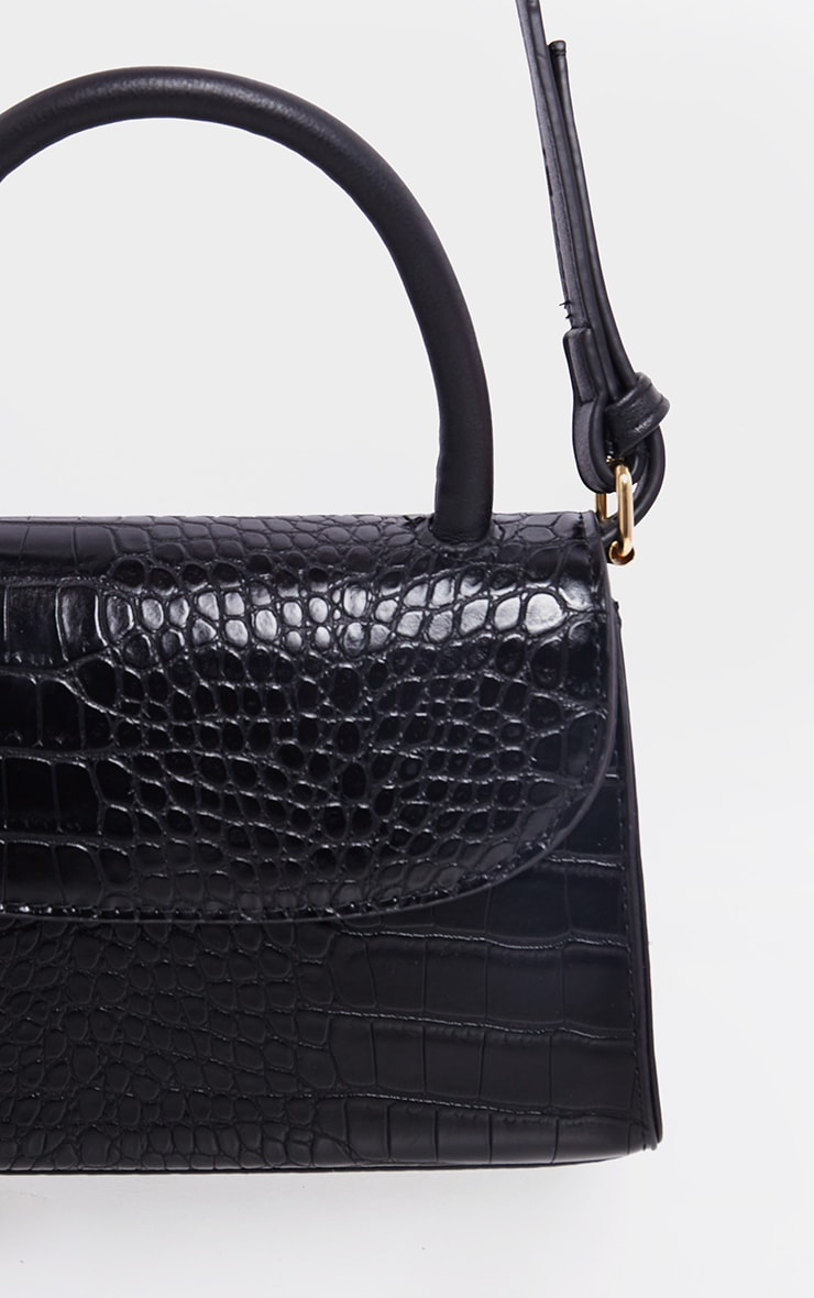Black Croc Single Handle Cross Body Bag 5
