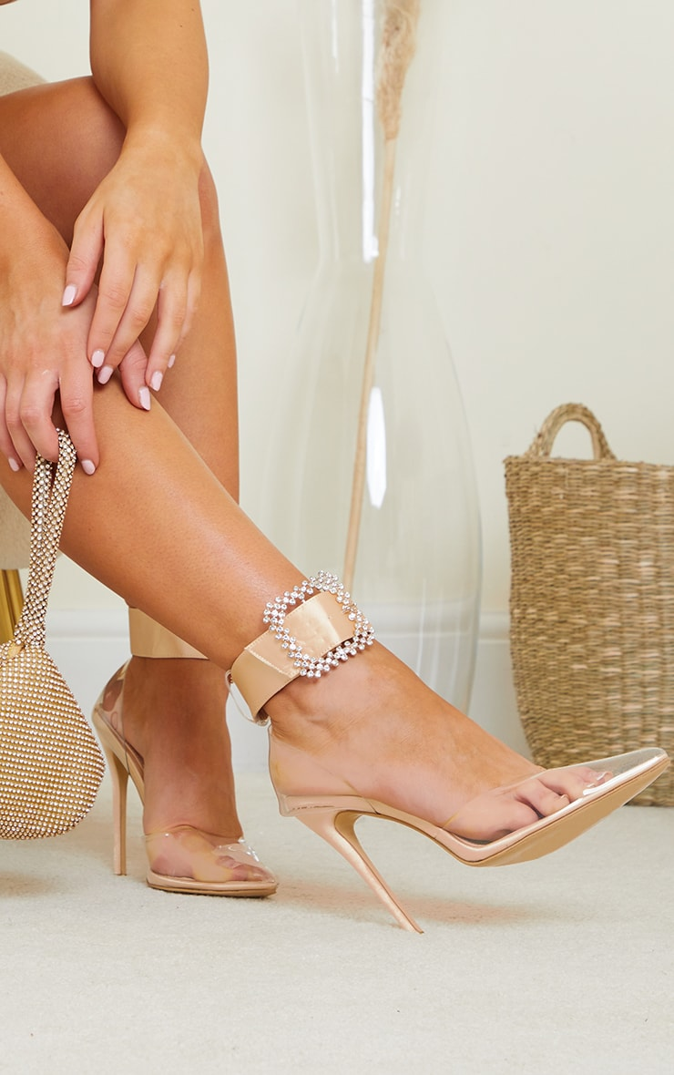 Nude Clear Diamante Buckle Ankle Strap Stiletto Heel Court Shoes 2