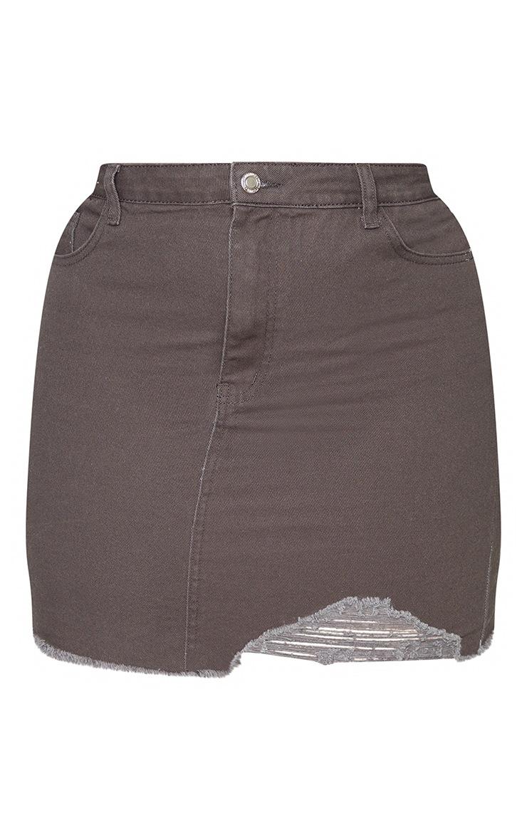 Plus Charcoal One Sided Distressed Hem Denim Skirt 6