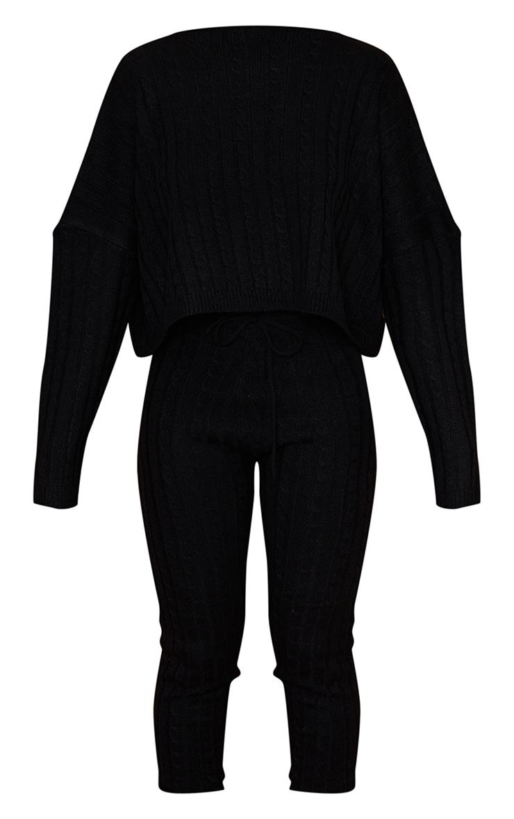 Black Cable Knit Sweater & Legging Set 5