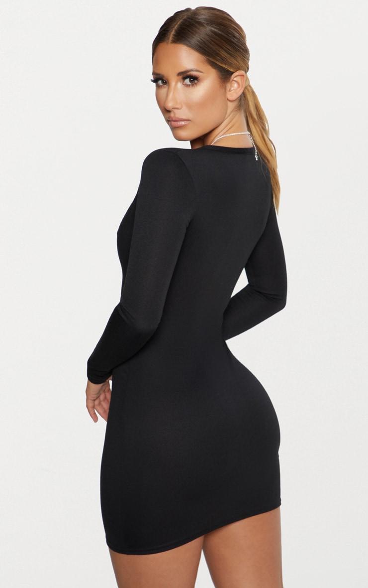Black Second Skin Ponte Button Down Bodycon Dress 2