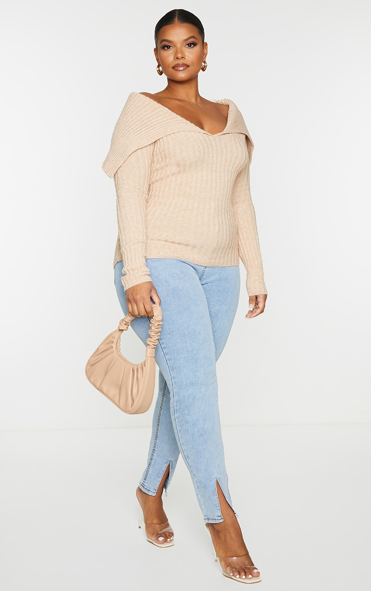 Plus StoneOff Shoulder Collar Detail Ribbed Jumper 4