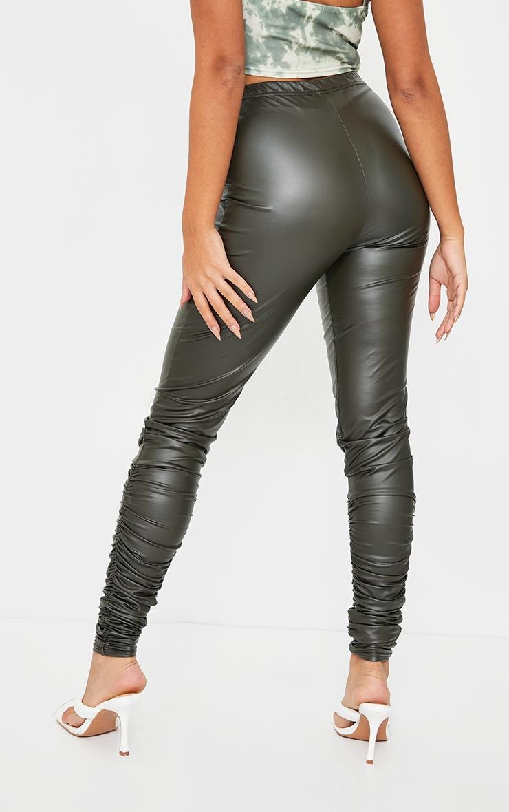 Petite Khaki Ruched Hem PU Leggings 3