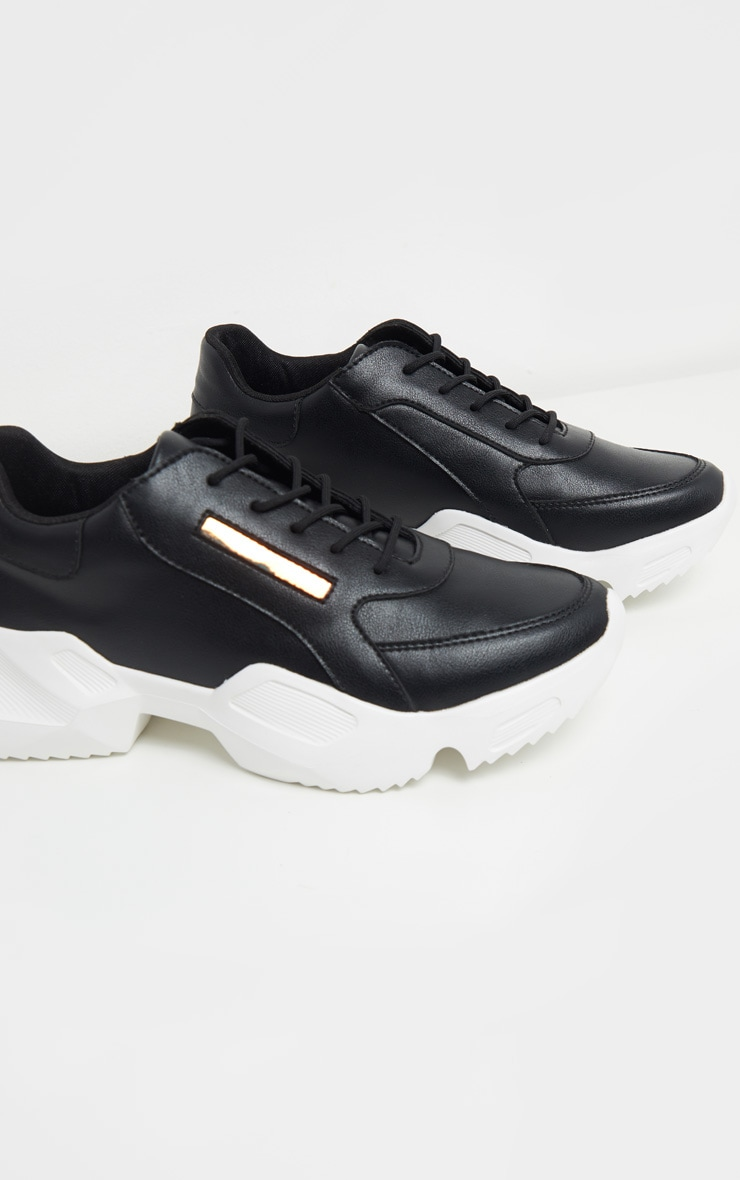 Black Two Part Sole Chunky Sneakers 3