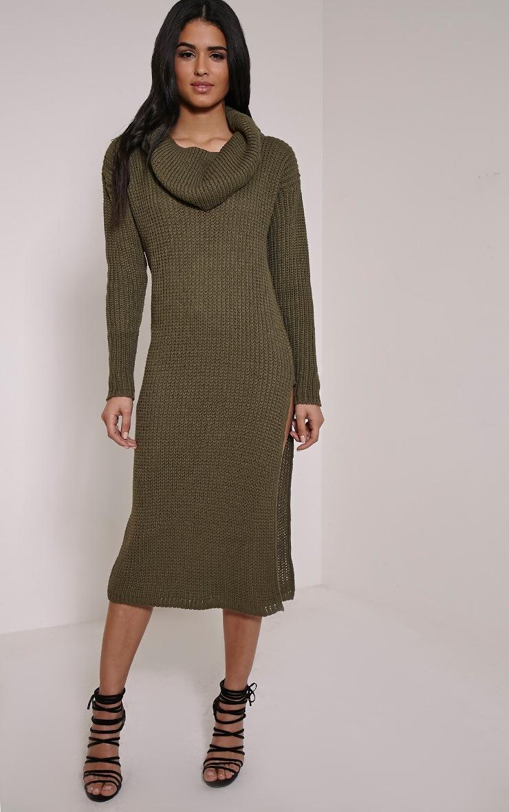 Braven Khaki Cable Knit Maxi Jumper Dress 4