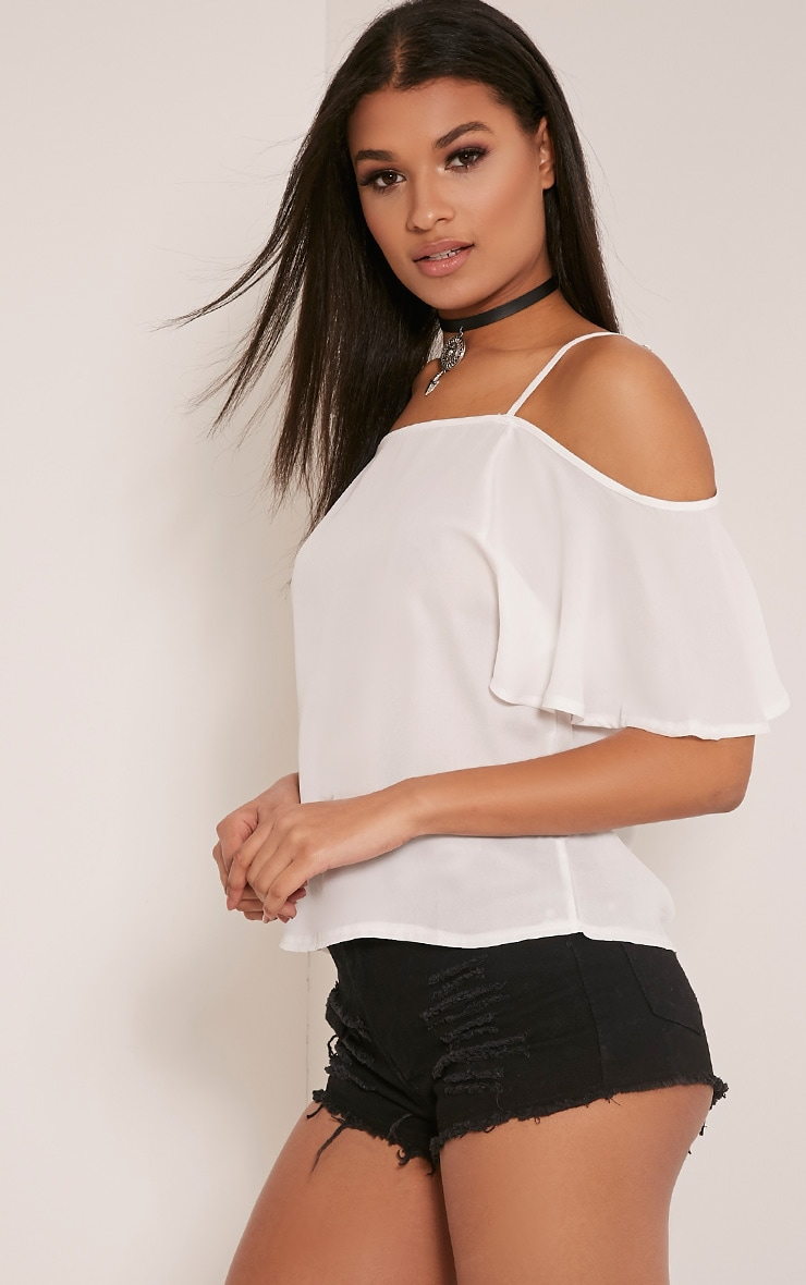 Ruthy White Cold Shoulder Chiffon Top 4