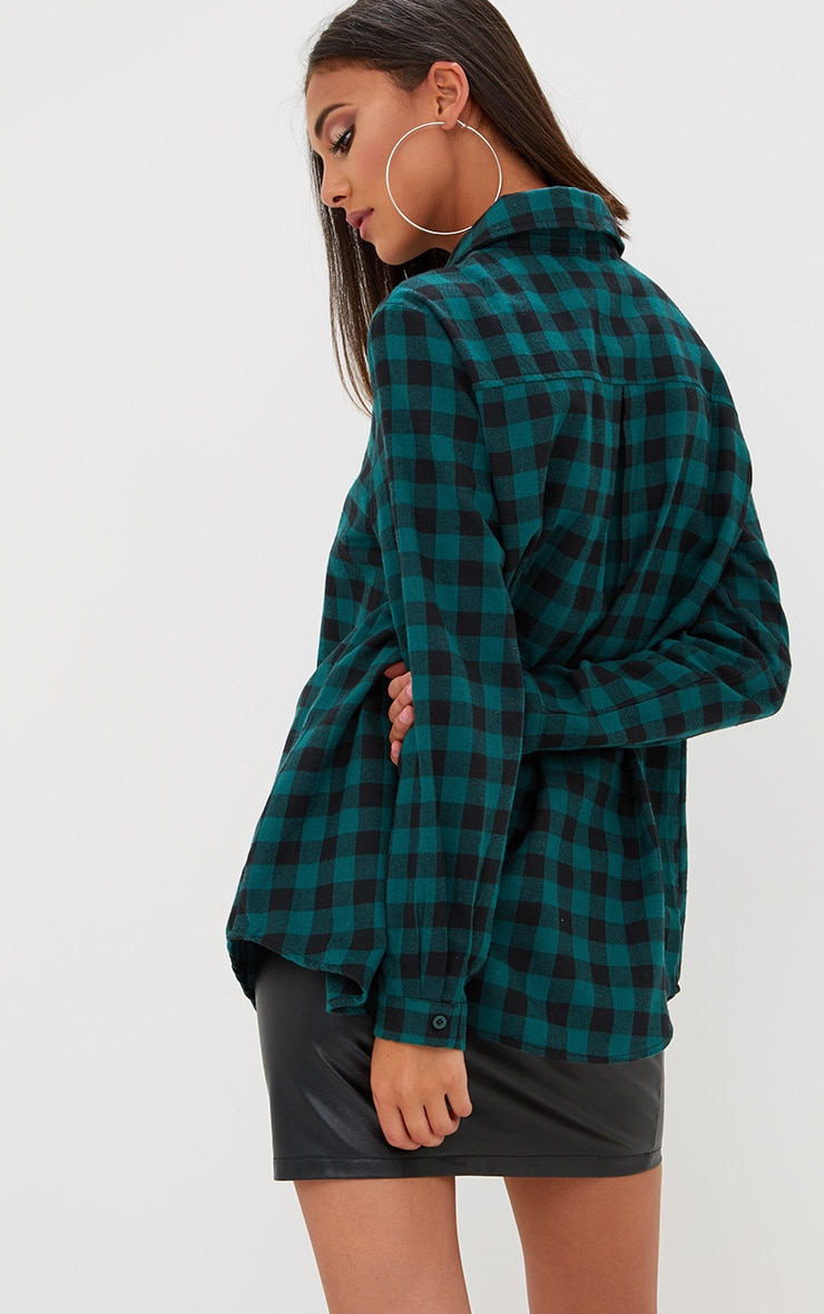 Green Oversized Checked Flannel Shirt  2