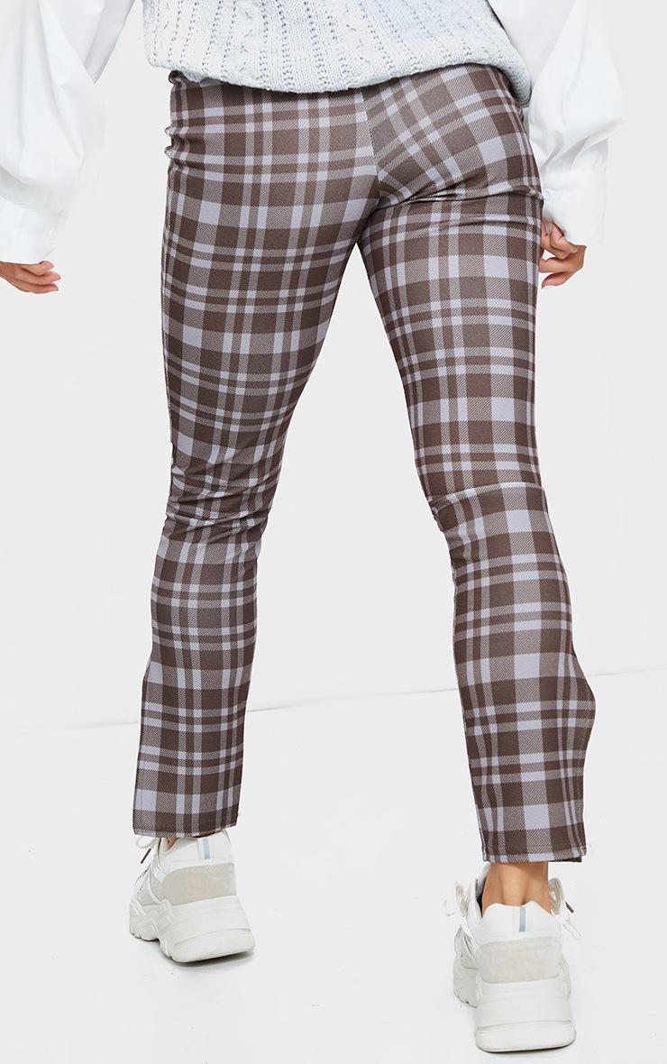 Petite Brown Checked Split Hem Trousers 3
