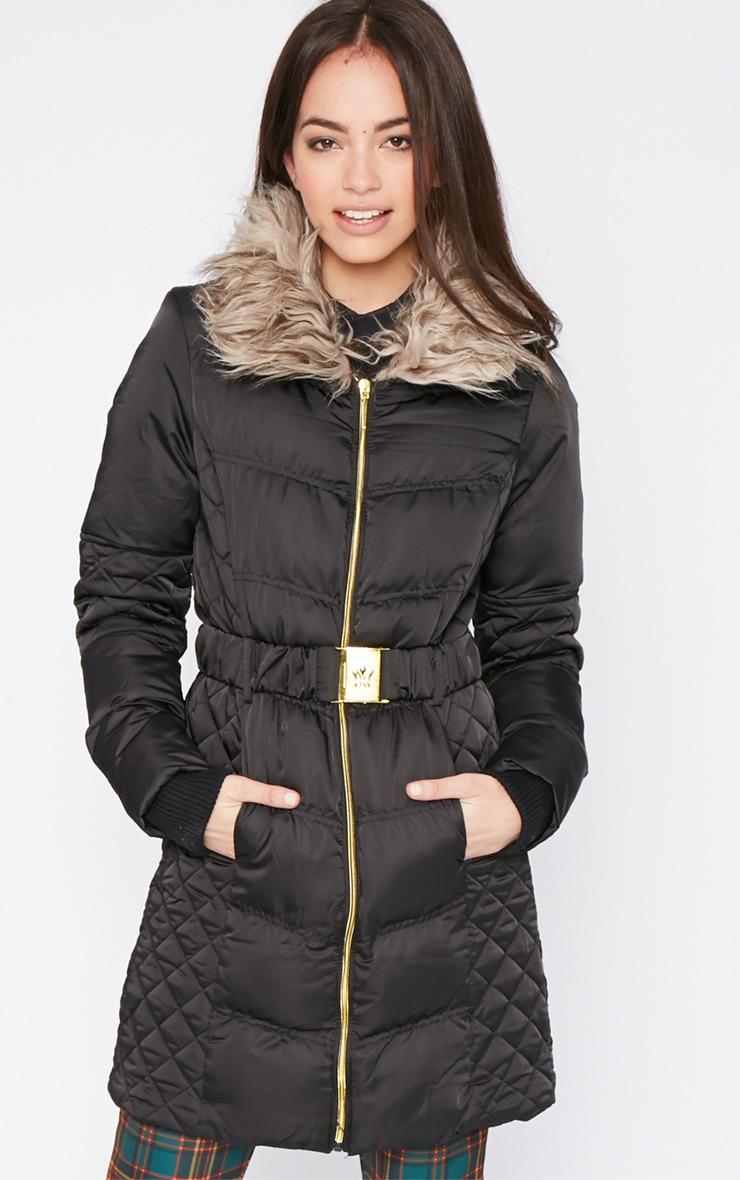 Nita Black Longline Fur Collar Belted Bubble Coat-16 1