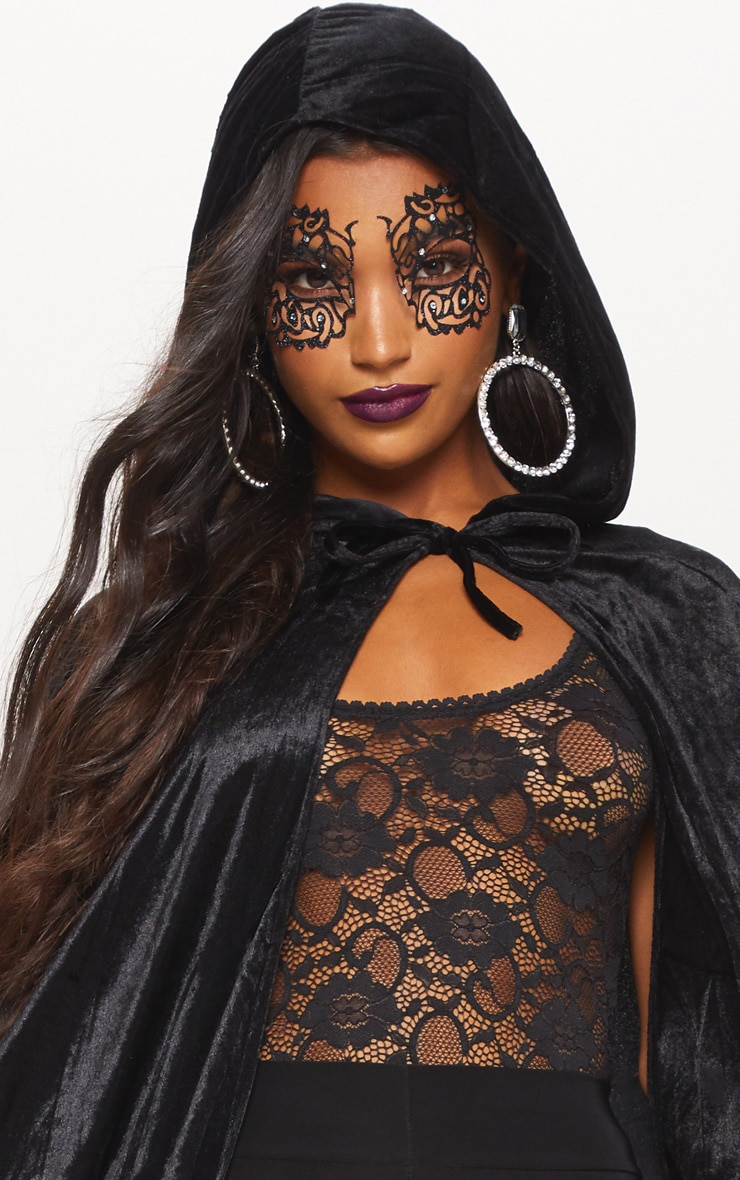 Hood Black Velvet Cape Fancy Dress Outfit 5