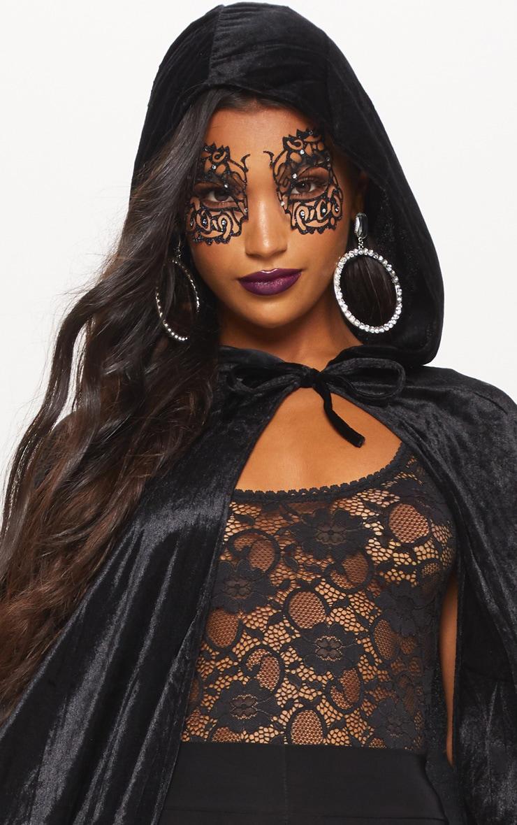 Hood Black Velvet Cape Fancy Dress Outfit 5
