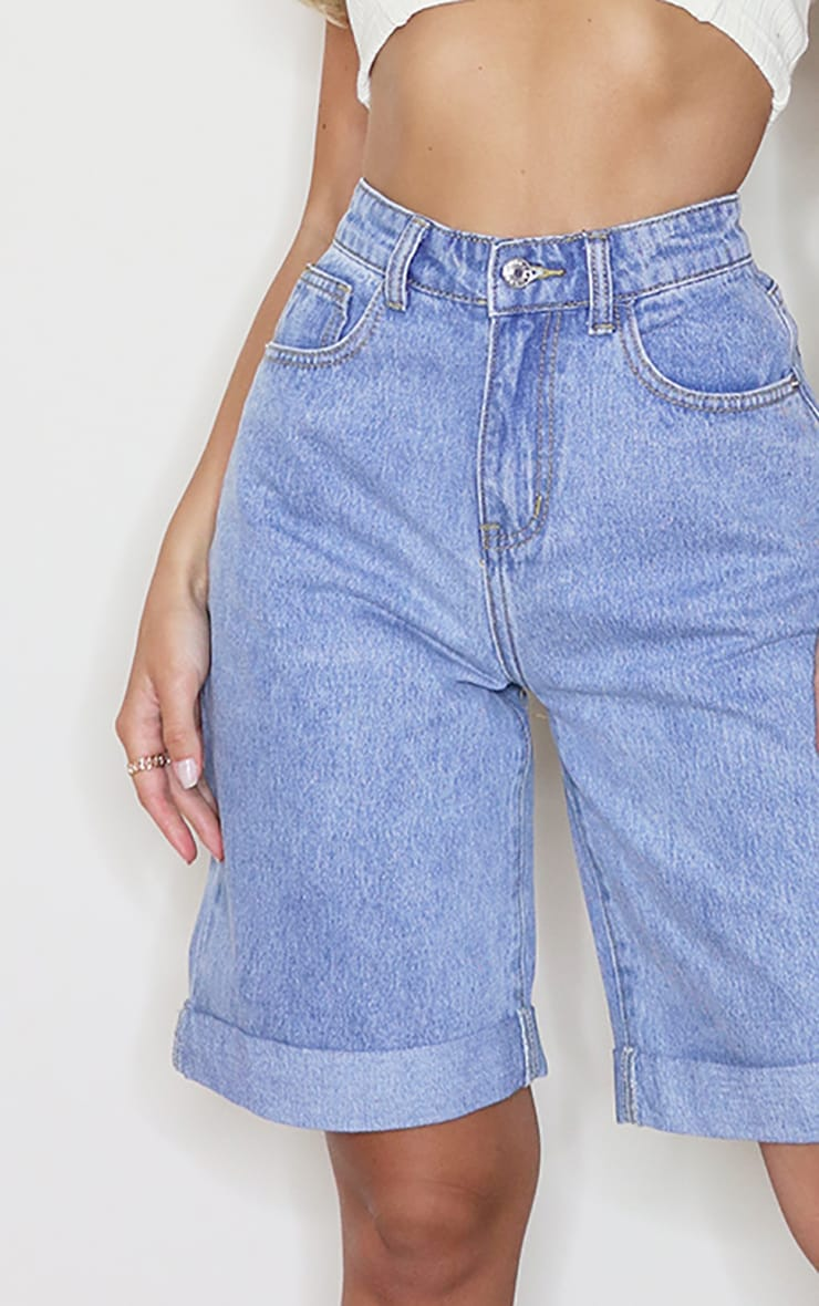 Vintage Wash Denim Longline Turn Up Boyfriend Shorts 5