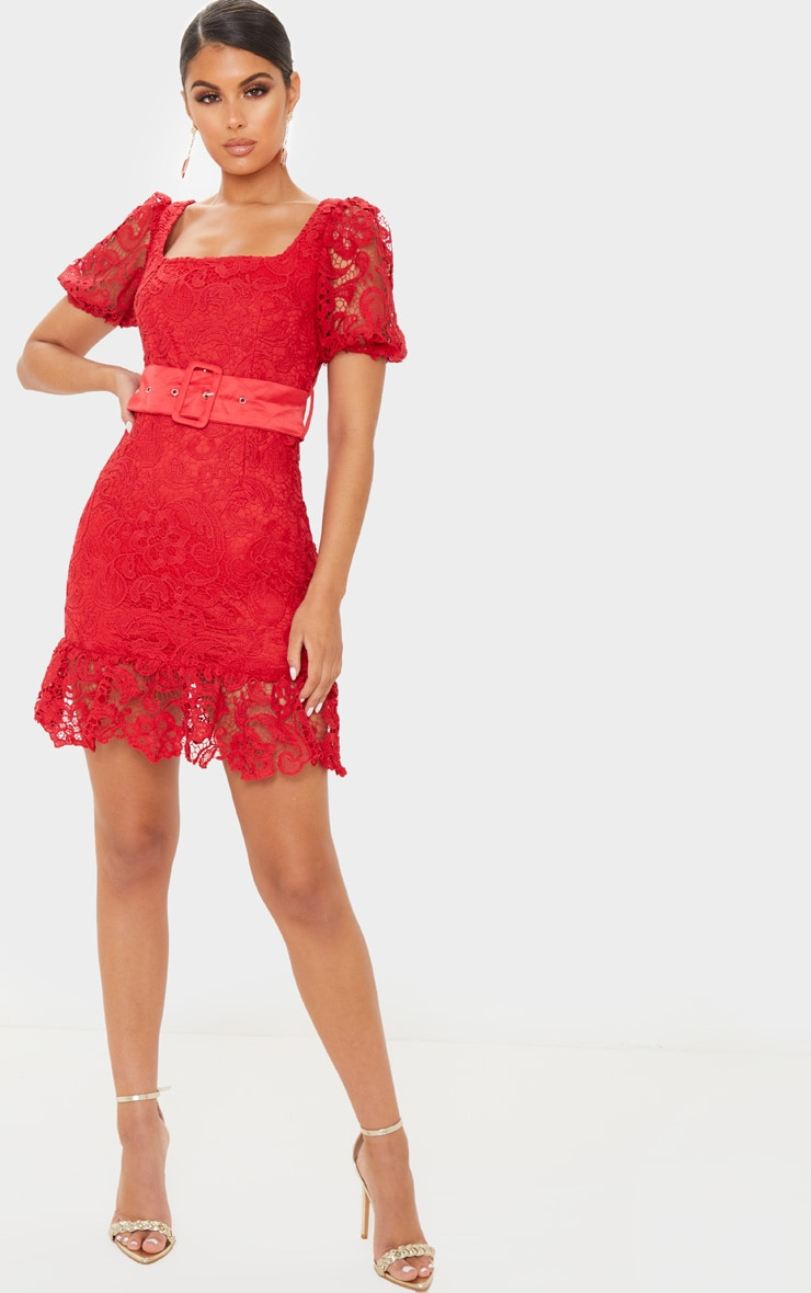 Red Lace Belted Puff Sleeve Bodycon Dress 1