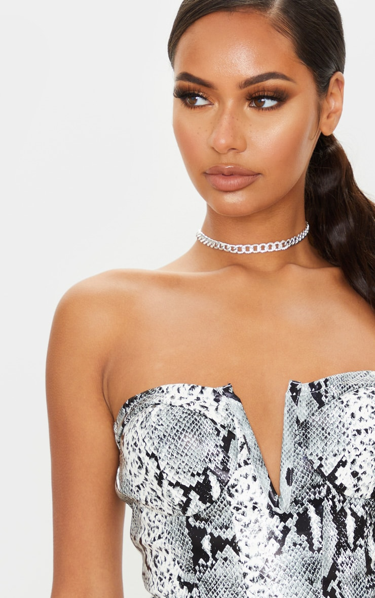 Grey Snake Faux Leather V Wire Bandeau Long Top 4