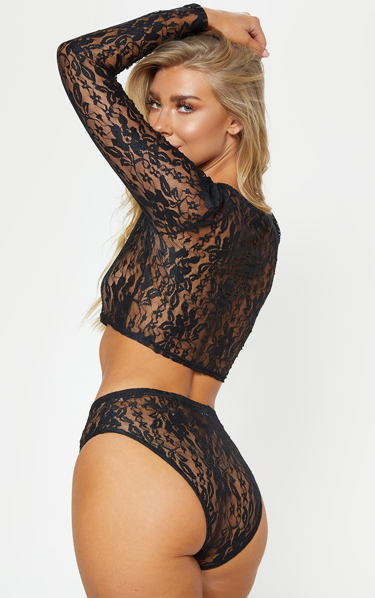 Black Lace Crop Top And Knicker Set 2