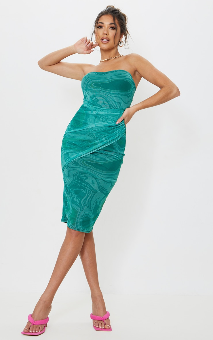 Green Marble Print Mesh Bandeau Drape Midi Dress 1