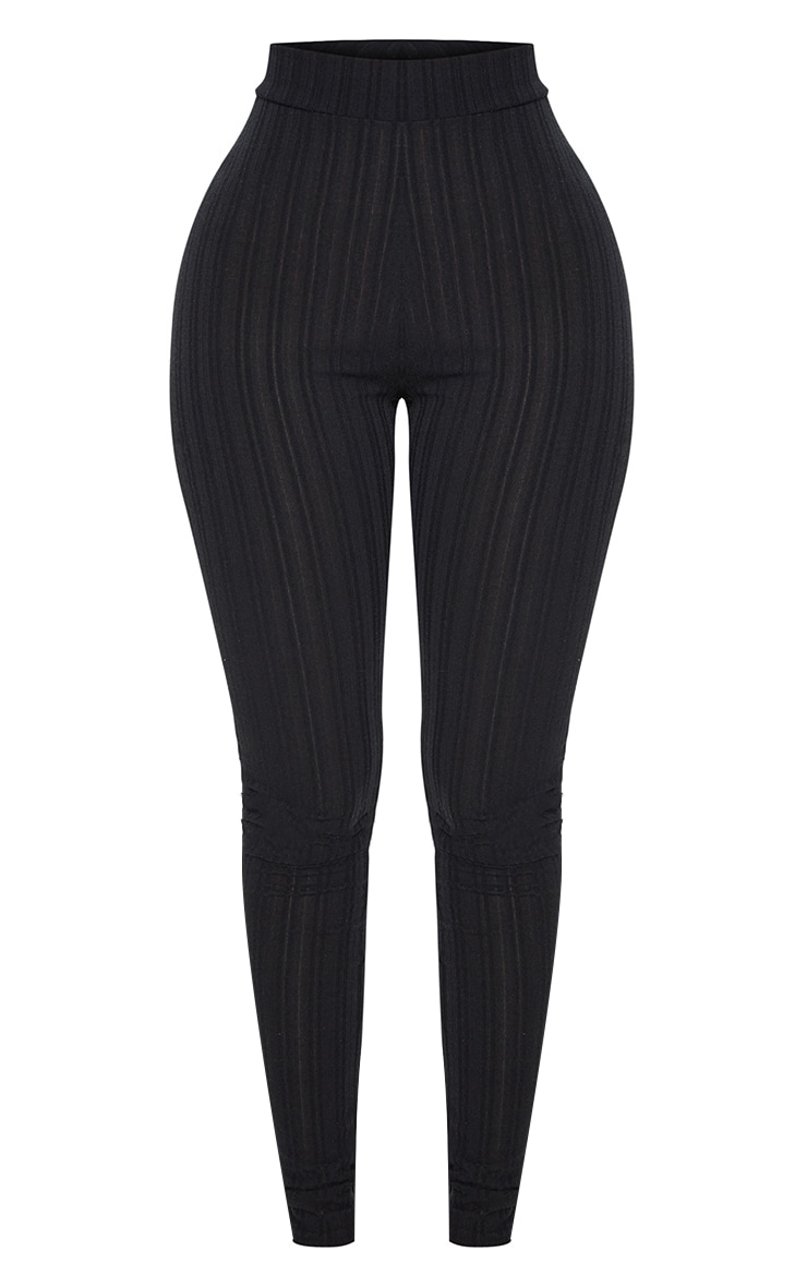 Shape Black High Waist Ribbed Leggings 3