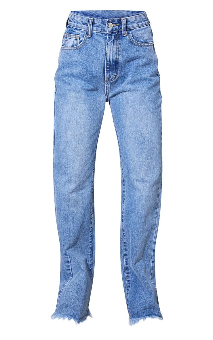 Vintage Wash Frayed Hem Wide Leg Jeans 5