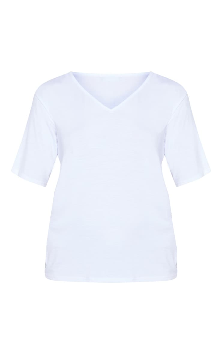 Basic White V Neck T Shirt 3