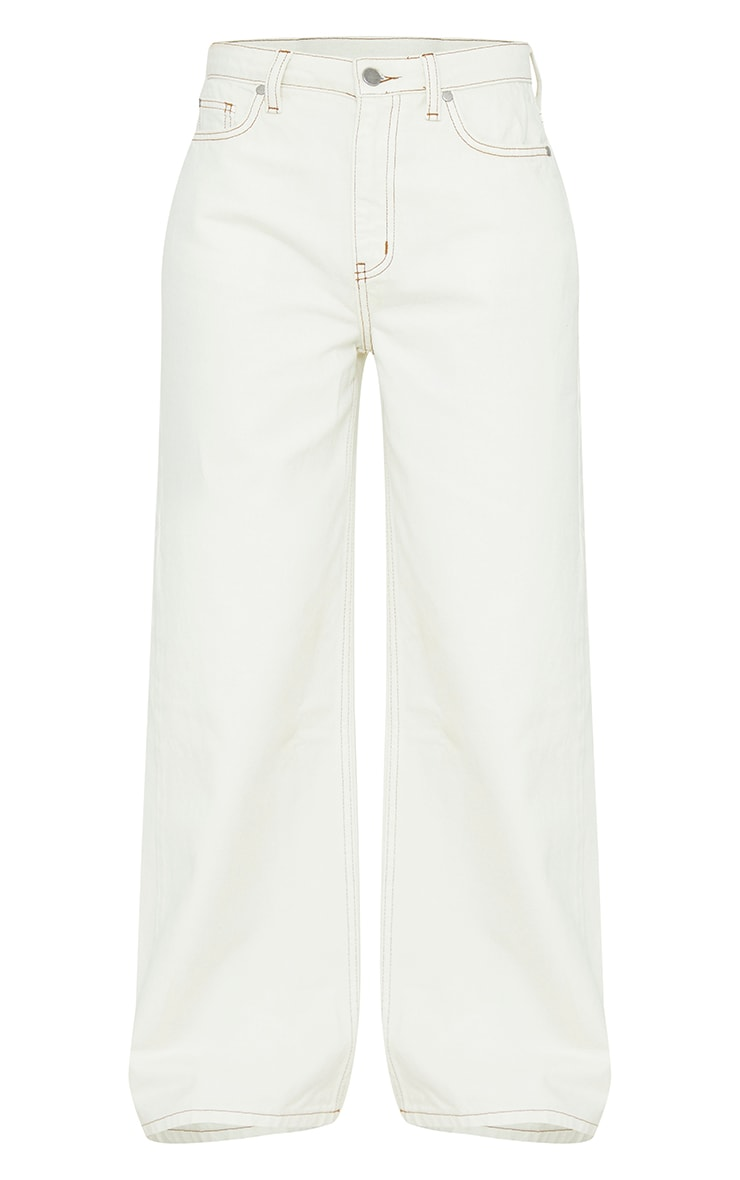 Ecru With Tobacco Contrast Stitch Cropped Baggy Wide Leg Jeans 5