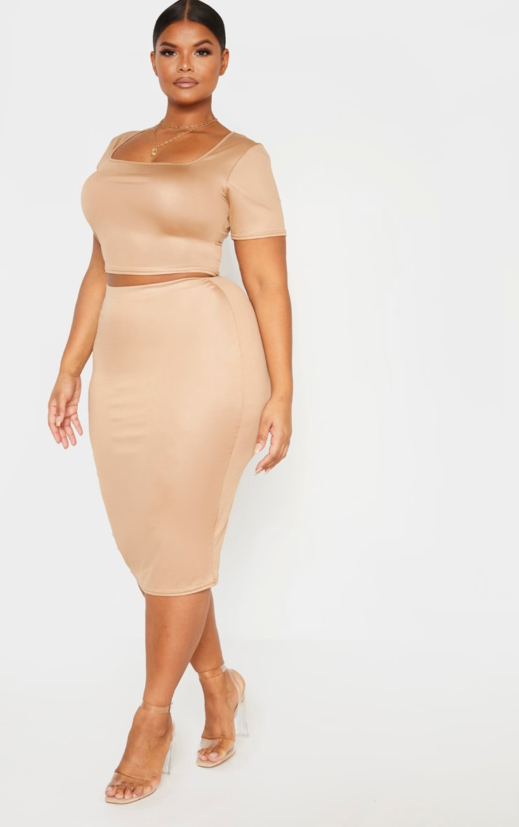 Plus Camel Wet Look Midi Skirt 1