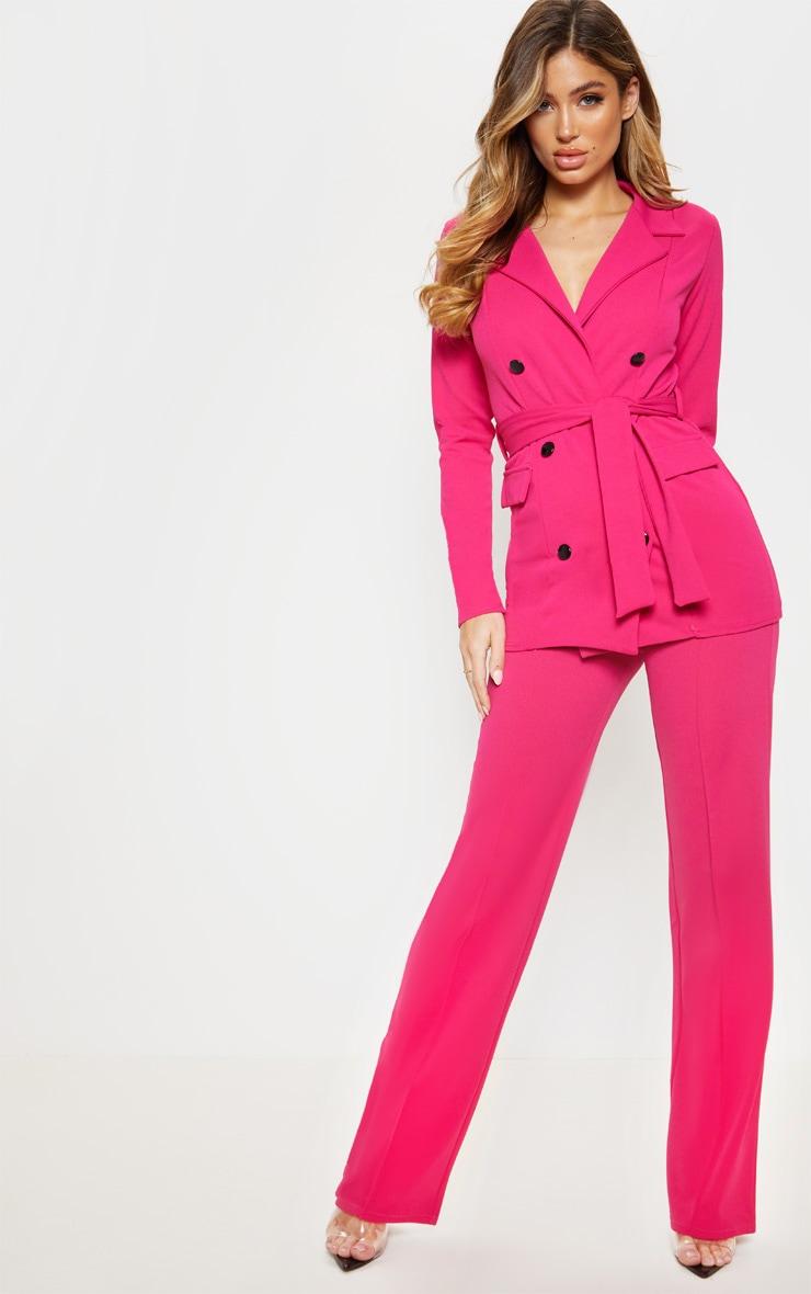 Pink Crepe Straight Leg Trouser 1
