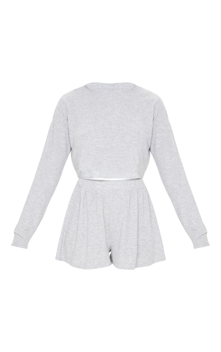 Grey Soft Rib Pyjama Short Set 3