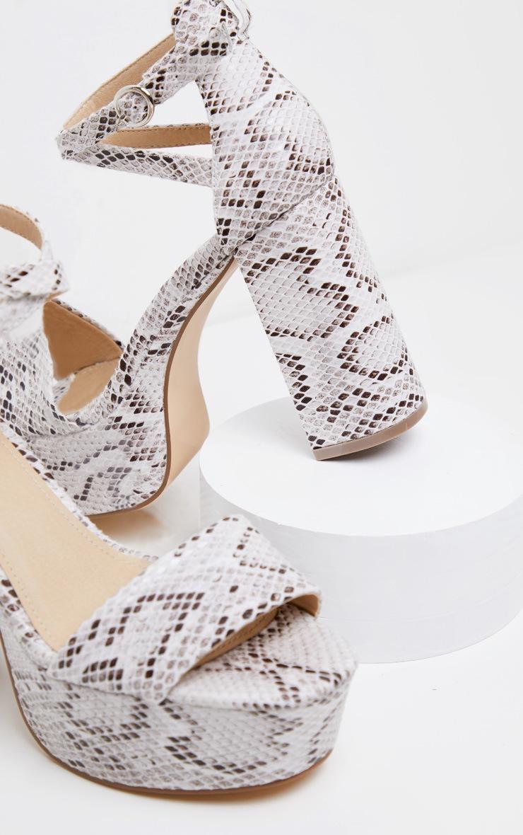 White Snake Platform Ankle Tie Block Heel Sandal 4