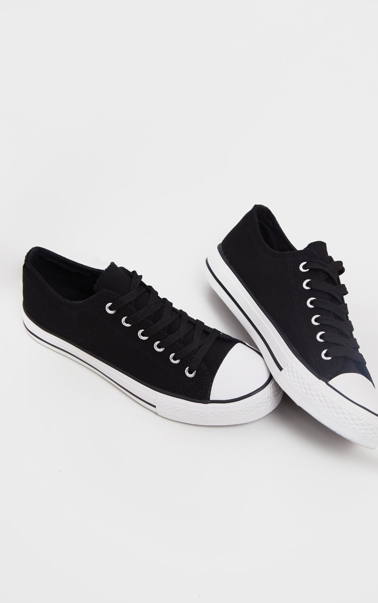 Black Lace Up Canvas Sneakers  1