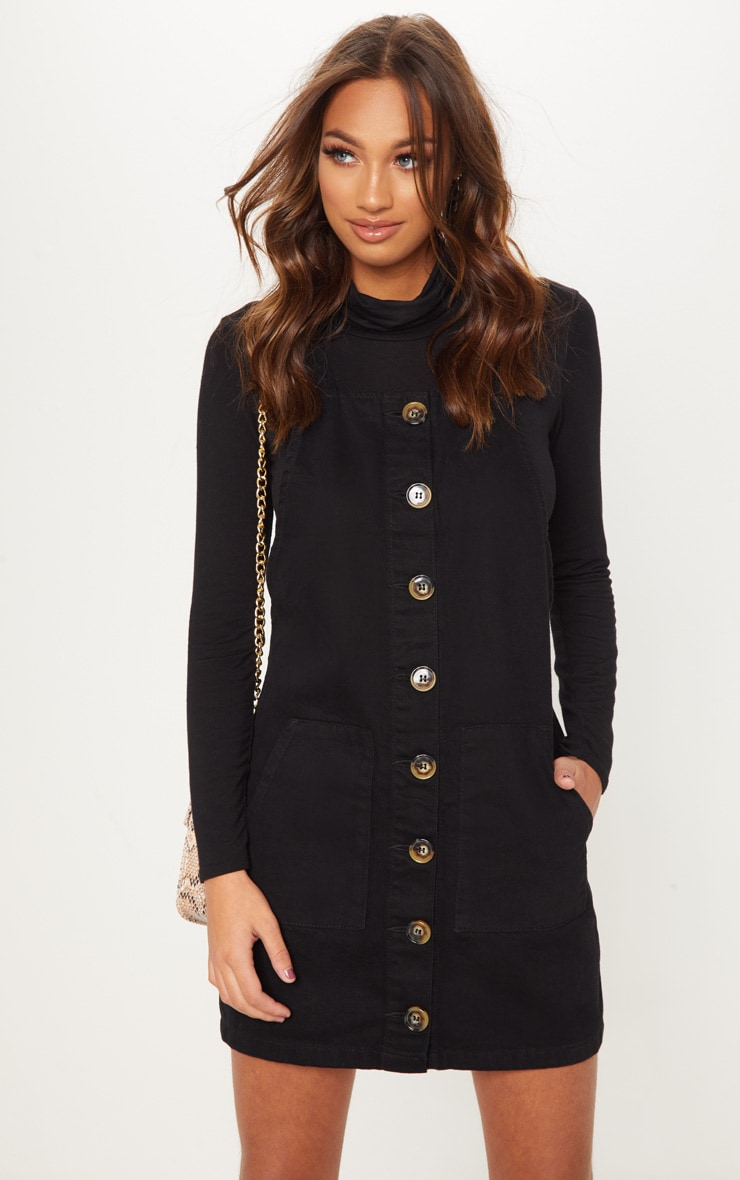 Button Through Black Denim Dress 1