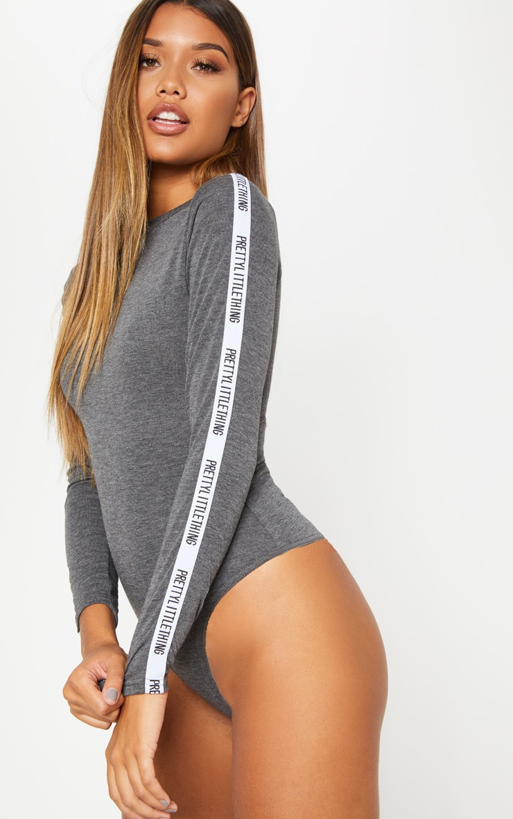 PRETTYLITTLETHING Charcoal Grey Long Sleeve Bodysuit 4