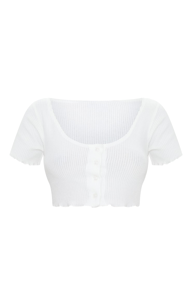 White Brushed Rib Button Front Short Sleeve Crop Top 5