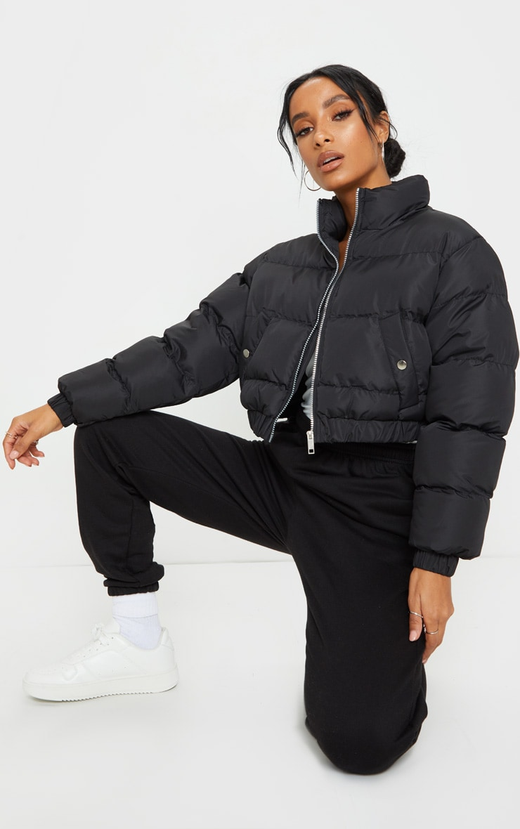 Black Cropped Bubble Button Down Puffer Jacket 3