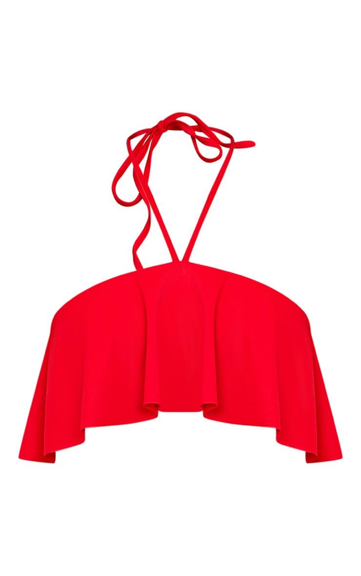 Kerrie Red Frill Bardot Tie Neck Top 3