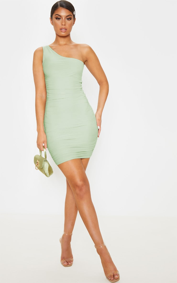 Sage Green Slinky One Shoulder Ruched Bodycon Dress 4