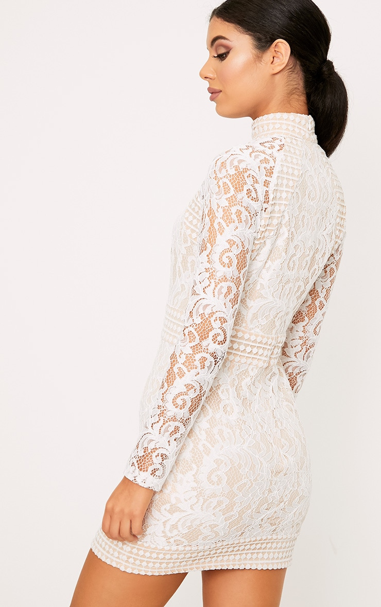 Isobel White Lace High Neck Bodycon Dress 2