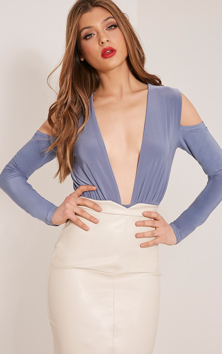 Sali Petrol Blue Cold Shoulder Bodysuit 1