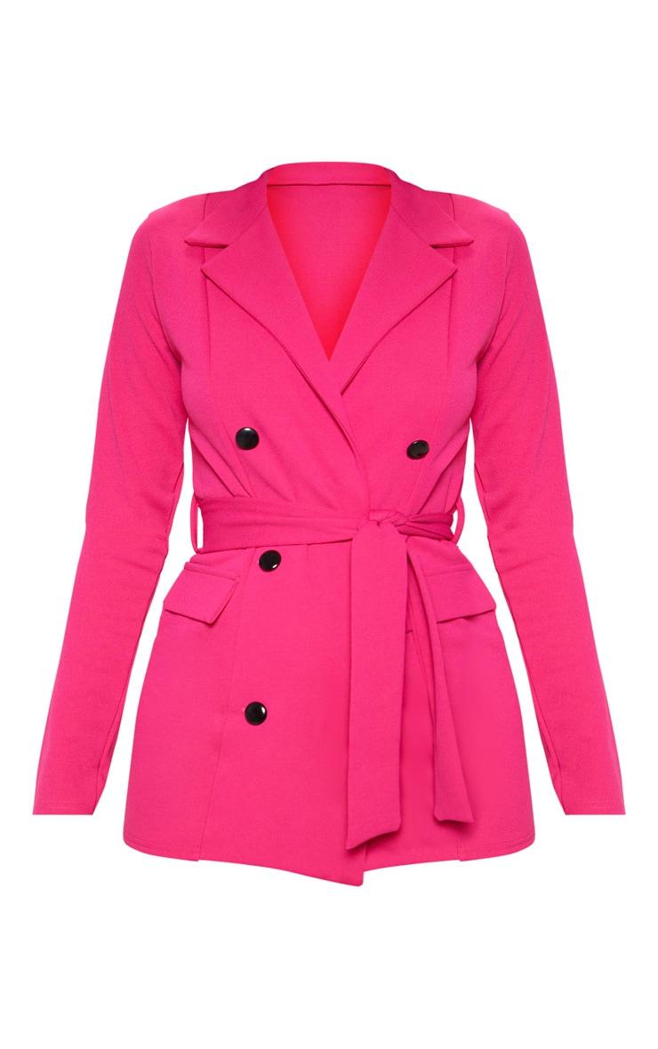Pink Crepe Belted Longline Blazer 3