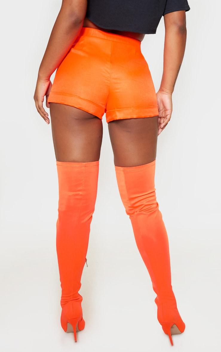 Neon Orange Woven Belted Turn Up Hem Short  4