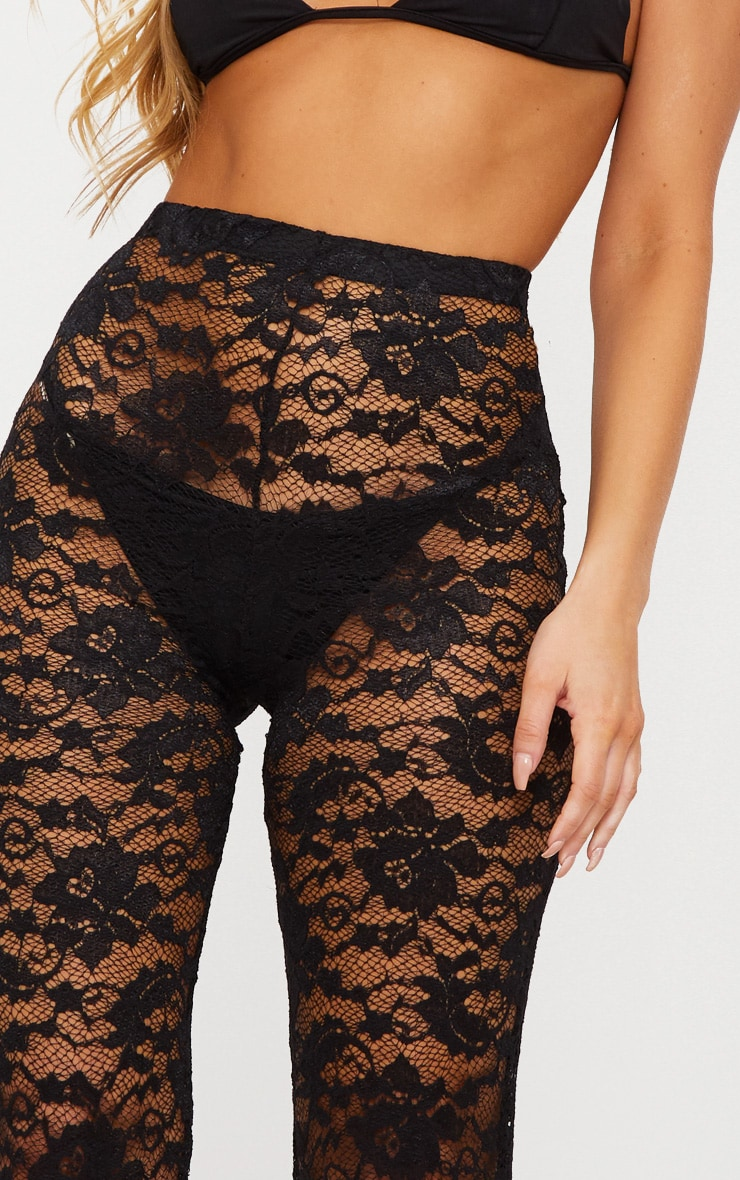 Black Lace Scalloped Hem Beach Trousers 5