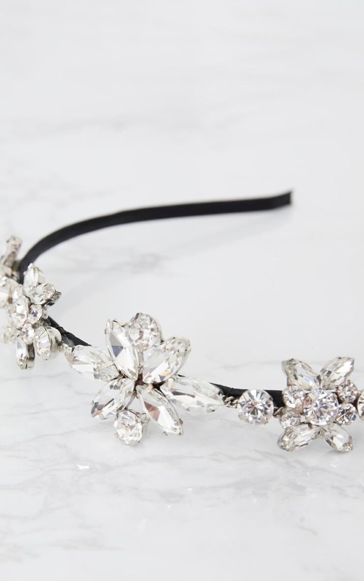 Silver Diamante Floral Statement Headband 4